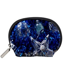Christmas Silver Blue Star Ball Happy Kids Accessory Pouches (small)