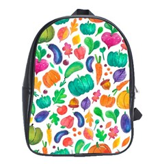 Pattern Autumn White School Bag (large)