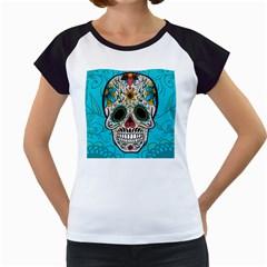 Cool Sugar Skull Women s Cap Sleeve T