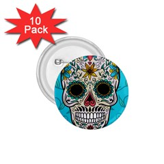 Cool Sugar Skull 1 75  Button (10 Pack)