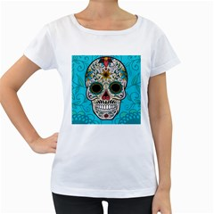 Sugar Skull New 2015 Women s Loose Fit T Shirt (white)