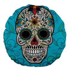 Sugar Skull New 2015 Large 18  Premium Flano Round Cushions