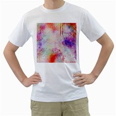 Watercolor Galaxy Purple Pattern Men s T Shirt (white) (two Sided)