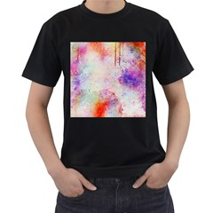 Watercolor Galaxy Purple Pattern Men s T Shirt (black)