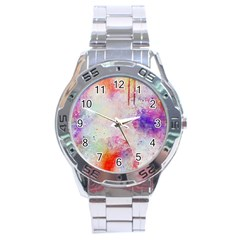 Watercolor Galaxy Purple Pattern Stainless Steel Analogue Watch