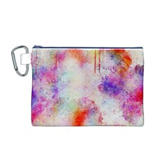 Watercolor Galaxy Purple Pattern Canvas Cosmetic Bag (m)