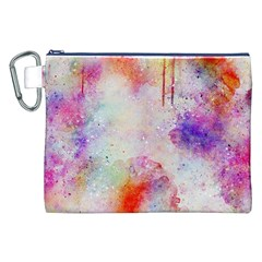 Watercolor Galaxy Purple Pattern Canvas Cosmetic Bag (xxl)