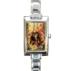 Steampunk, Steampunk Elephant With Clocks And Gears Rectangle Italian Charm Watch