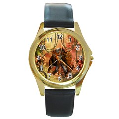 Steampunk, Steampunk Elephant With Clocks And Gears Round Gold Metal Watch