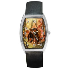 Steampunk, Steampunk Elephant With Clocks And Gears Barrel Style Metal Watch