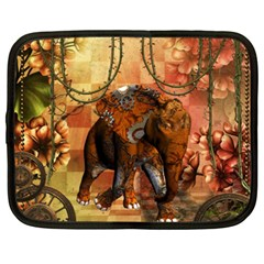 Steampunk, Steampunk Elephant With Clocks And Gears Netbook Case (xxl)