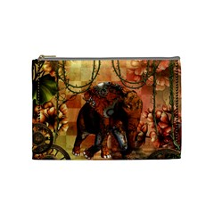 Steampunk, Steampunk Elephant With Clocks And Gears Cosmetic Bag (medium)