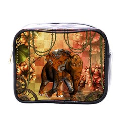 Steampunk, Steampunk Elephant With Clocks And Gears Mini Toiletries Bags