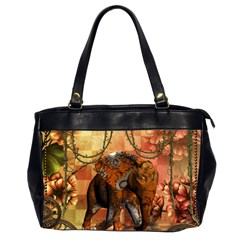 Steampunk, Steampunk Elephant With Clocks And Gears Office Handbags (2 Sides)