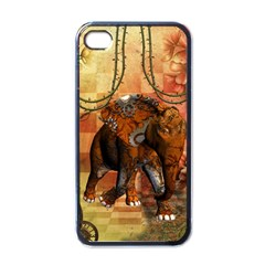Steampunk, Steampunk Elephant With Clocks And Gears Apple Iphone 4 Case (black)