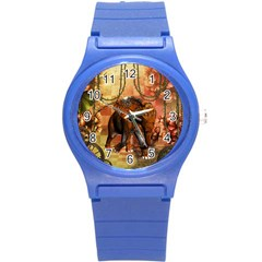 Steampunk, Steampunk Elephant With Clocks And Gears Round Plastic Sport Watch (s)