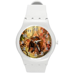 Steampunk, Steampunk Elephant With Clocks And Gears Round Plastic Sport Watch (m)