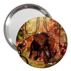 Steampunk, Steampunk Elephant With Clocks And Gears 3  Handbag Mirrors