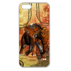 Steampunk, Steampunk Elephant With Clocks And Gears Apple Seamless Iphone 5 Case (clear)