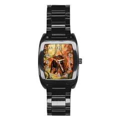 Steampunk, Steampunk Elephant With Clocks And Gears Stainless Steel Barrel Watch