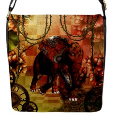 Steampunk, Steampunk Elephant With Clocks And Gears Flap Messenger Bag (s)