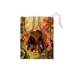 Steampunk, Steampunk Elephant With Clocks And Gears Drawstring Pouches (small)