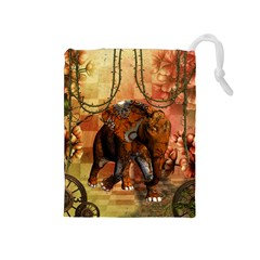 Steampunk, Steampunk Elephant With Clocks And Gears Drawstring Pouches (medium)