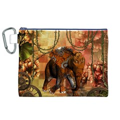 Steampunk, Steampunk Elephant With Clocks And Gears Canvas Cosmetic Bag (xl)