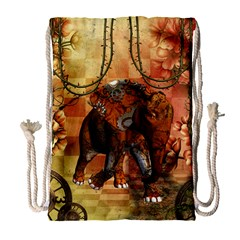 Steampunk, Steampunk Elephant With Clocks And Gears Drawstring Bag (large)