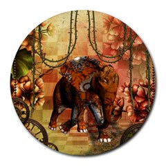 Steampunk, Steampunk Elephant With Clocks And Gears Round Mousepads