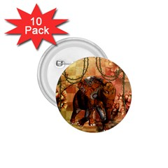 Steampunk, Steampunk Elephant With Clocks And Gears 1 75  Buttons (10 Pack)