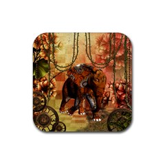 Steampunk, Steampunk Elephant With Clocks And Gears Rubber Coaster (square)