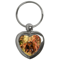 Steampunk, Steampunk Elephant With Clocks And Gears Key Chains (heart)