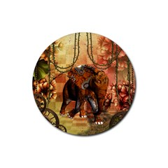 Steampunk, Steampunk Elephant With Clocks And Gears Rubber Coaster (round)