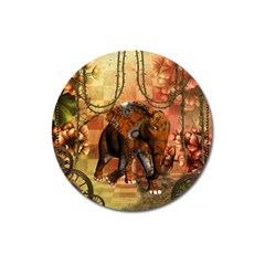 Steampunk, Steampunk Elephant With Clocks And Gears Magnet 3  (round)