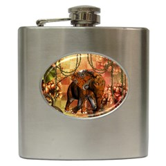 Steampunk, Steampunk Elephant With Clocks And Gears Hip Flask (6 Oz)
