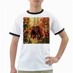 Steampunk, Steampunk Elephant With Clocks And Gears Ringer T Shirts
