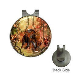 Steampunk, Steampunk Elephant With Clocks And Gears Hat Clips With Golf Markers