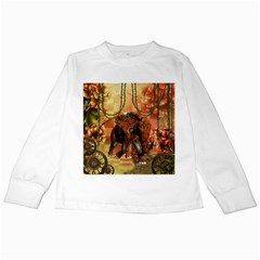 Steampunk, Steampunk Elephant With Clocks And Gears Kids Long Sleeve T Shirts