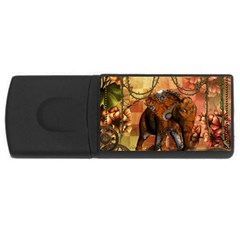 Steampunk, Steampunk Elephant With Clocks And Gears Rectangular Usb Flash Drive