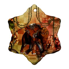 Steampunk, Steampunk Elephant With Clocks And Gears Ornament (snowflake)