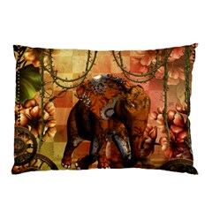 Steampunk, Steampunk Elephant With Clocks And Gears Pillow Case (two Sides)