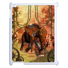 Steampunk, Steampunk Elephant With Clocks And Gears Apple Ipad 2 Case (white)