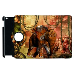 Steampunk, Steampunk Elephant With Clocks And Gears Apple Ipad 3/4 Flip 360 Case