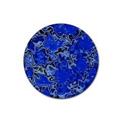 Wet Plastic, Blue Rubber Round Coaster (4 Pack)