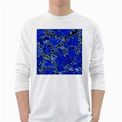 Wet Plastic, Blue White Long Sleeve T Shirts