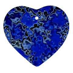 Wet Plastic, Blue Heart Ornament (two Sides)