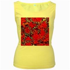 Wet Plastic, Red Women s Yellow Tank Top