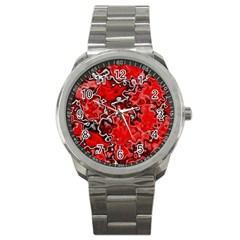 Wet Plastic, Red Sport Metal Watch