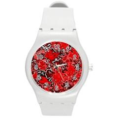 Wet Plastic, Red Round Plastic Sport Watch (m)